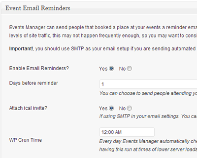 Send your users automated emails days before your events start.
